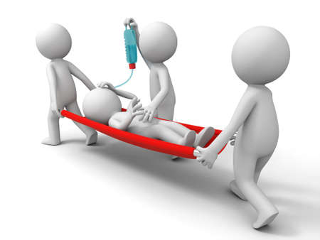 hospital stretcher: Aid  patient  three people carrying the patient