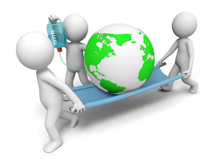 environmental protection: Environmental protection three people carrying the earth
