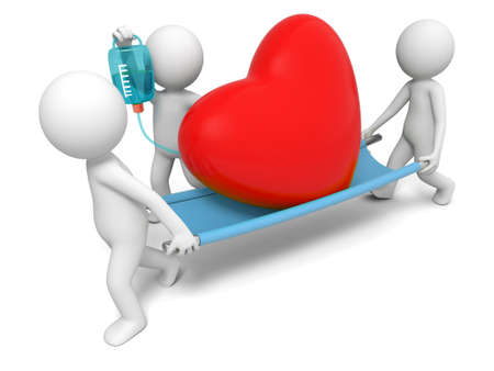 paciente en camilla: Corazón de amor a tres personas que llevan un corazón