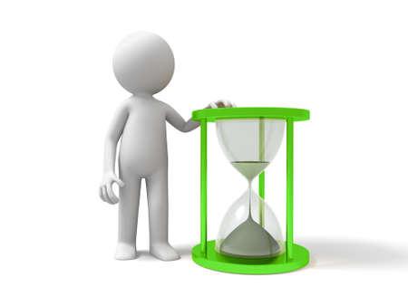 reloj de arena: reloj de arena vez un pueblo de pie con un reloj de arena