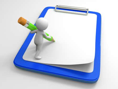 marioneta de madera: Una persona a escribir con un lápiz en la amplia