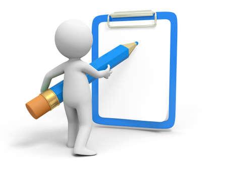 pad pen: Escribir bordo L�piz Una persona por escrito con l�piz en el tablero Foto de archivo