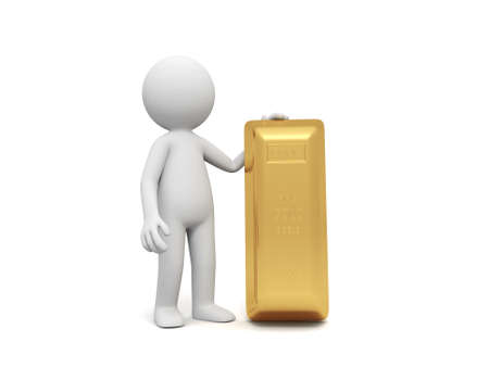 Gold money A people standing with a gold brick Stock Photo - 15457116