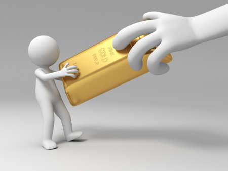 gold ingot: Gold money A big hand rob a gold brick