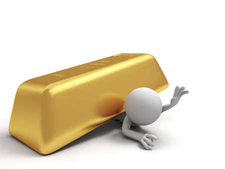gold ingot: Gold money A people pinned down by a big gold brick