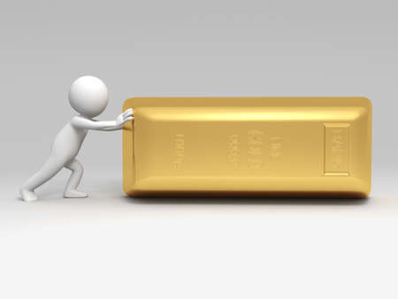 reserve: Gold money a people  push a big gold Stock Photo