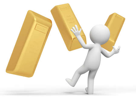 Gold money a Surprised people and several gold brick Stock Photo - 15457842
