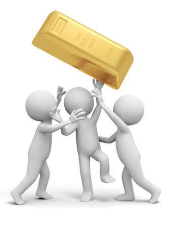 gold ingot: Gold money three people are fighting for a gold brick Stock Photo