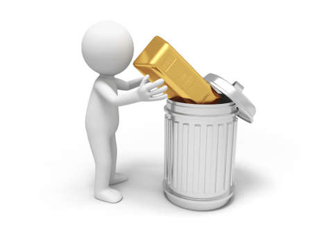 waste money: Gold money A people bring a gold brick into a trash can