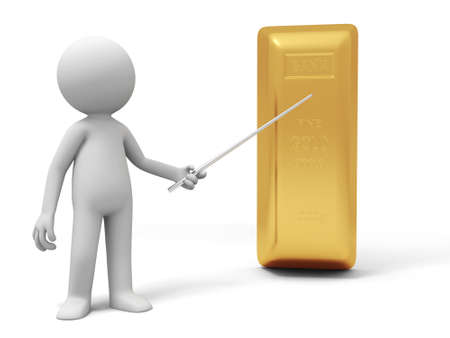 gold ingot: Gold money A people standing with a gold brick