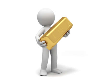 reserve: Gold money A people holding  a gold brick Stock Photo