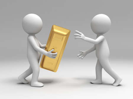 gold ingot: Gold money A people give a gold brick to the other