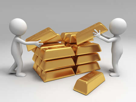 gold bullion: Gold money two people are carrying  some gold bricks