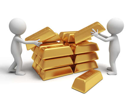 exchange profit: Gold money two people are carrying  some gold bricks