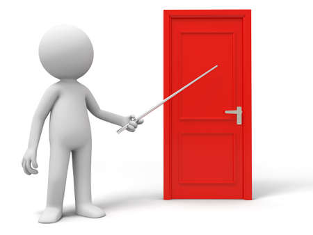 introduces: Introduce Point A person introduces a door with a stick