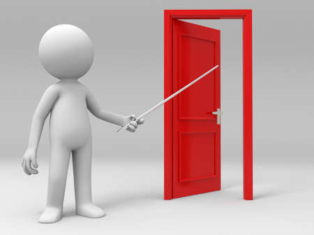 knocker: Open Point Introduce A person points a opened door