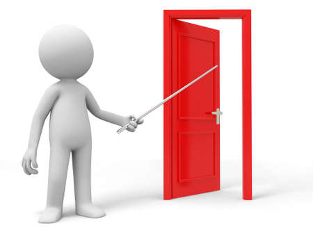introduce: Open Point Introduce A person points a opened door