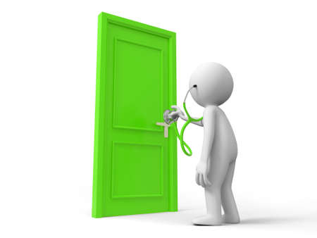 opulence: Door Stethoscope A person listens to the door with a stethoscope Stock Photo