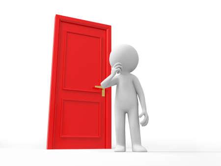 knocker: Door A person stands nearby a door Stock Photo