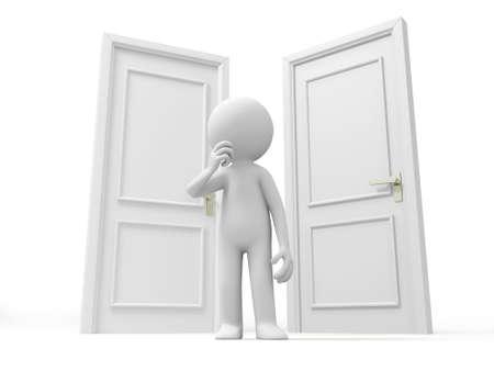 knocker: Door Choose  A Human stands between two doors