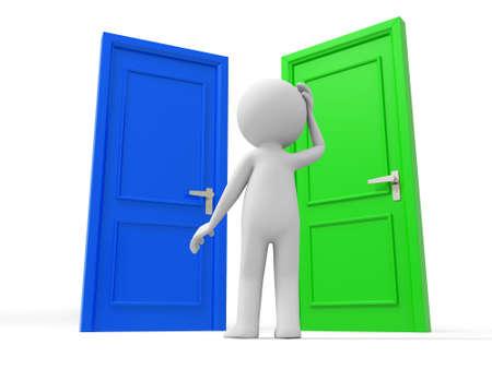 man close up: Door Choose  A Human stands between two doors