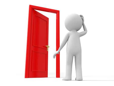 tocar la puerta: Puerta creo que una persona que piensa delante de una puerta abierta