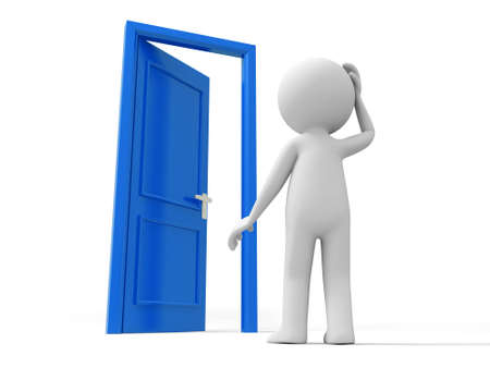 knocker: Door Think  A Person thinking in front of a opened door