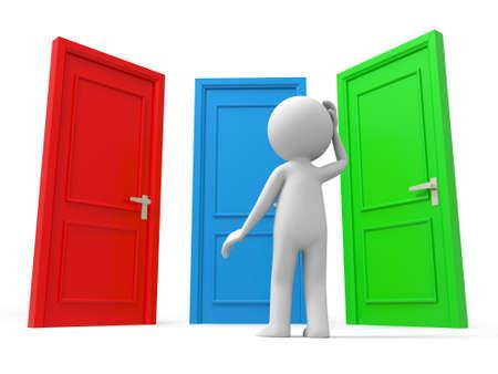 tocar la puerta: Puerta elegir una persona que piensa delante de tres puertas Foto de archivo