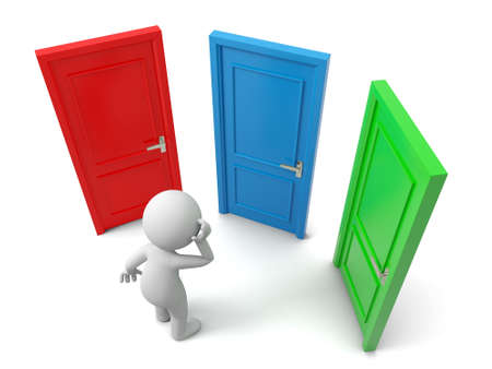 knocker: Door Choose A person thinking in front of three doors