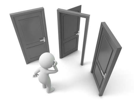 opulence: Door Choose A person thinking in front of three doors