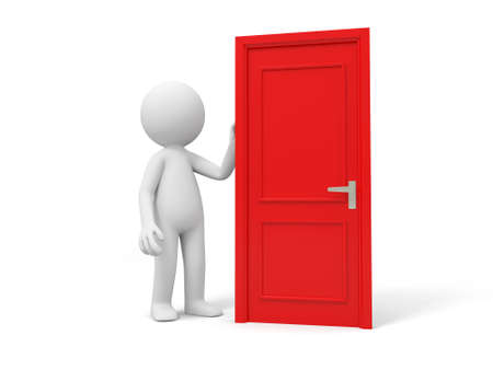 knocker: Door Think A person standing at a door  Stock Photo