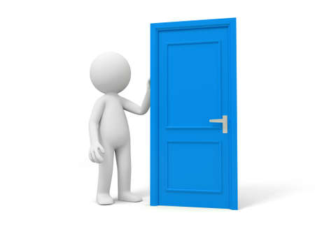 knocking: Door Think A person standing at a door  Stock Photo