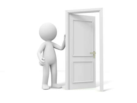 knocking: Door Think A person standing at a opened door