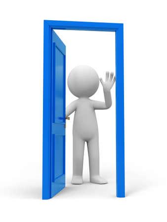 tocar la puerta: Gente de la puerta y una puerta abierta
