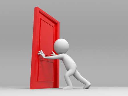 knocker: Door People pushes a door Stock Photo