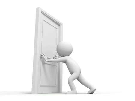 pushes: Door People pushes a door Stock Photo
