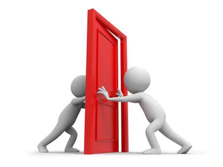 knock: Door Two people pushes a door