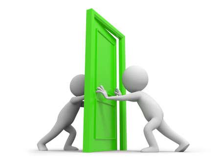 pushes: Door Two people pushes a door