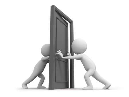 knocker: Door Two people pushes a door