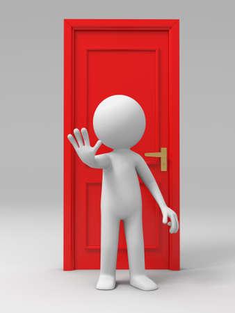 door man: Door A man with his back to the door