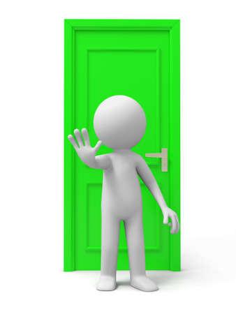 knocker: Door A man with his back to the door