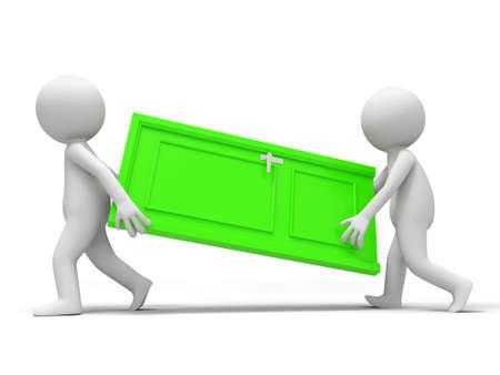 opulence: Door Cooperation Two people carry a door