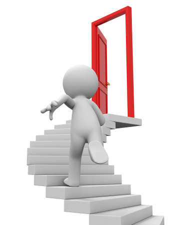 step up: Door run stairs A person runs to a opened door on the stairs Stock Photo