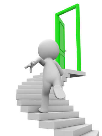 stairs interior: Door run stairs A person runs to a opened door on the stairs Stock Photo