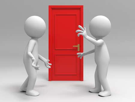 welcome home: Door  discuss  two people discuss in front of a door