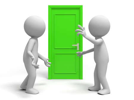 people discuss: Door  discuss  two people discuss in front of a door