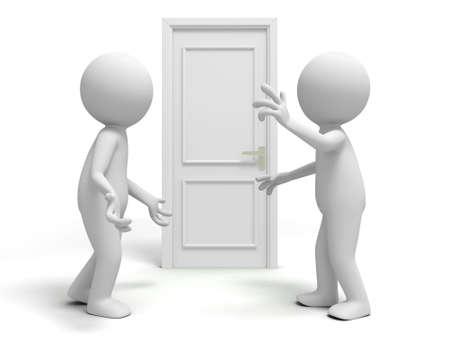knocker: Door  discuss  two people discuss in front of a door