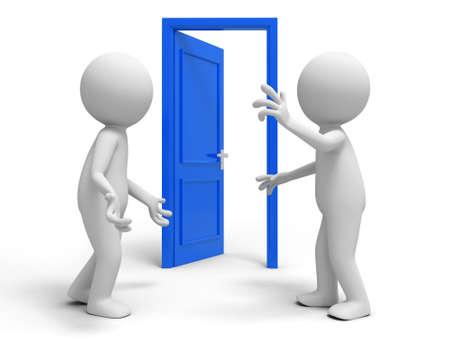 knocker: Door  discuss  two people discuss in front of a opened door
