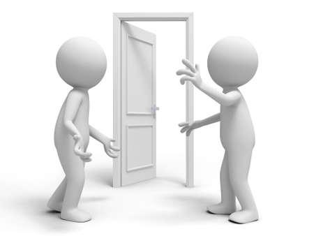 people discuss: Door  discuss  two people discuss in front of a opened door