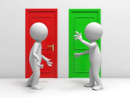 knocker: Door  discuss  two people discuss in front of two doors